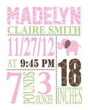 Personalized Birth Girl Announcement Print - Custom Nursery Decor - Unframed Print-MuralMax Interiors
