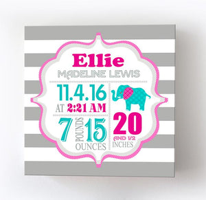 Personalized Birth Info Elephant Baby Girl Nursery Decor - New Baby Gift - Birth Announcements Canvas ArtBaby ProductMuralMax Interiors