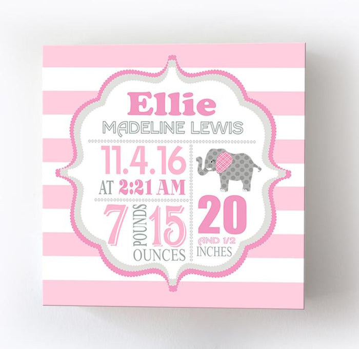 Personalized Birth Info Elephant Baby Girl Nursery Decor - New Baby Gift - Birth Announcements Canvas Art