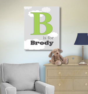 Personalized Boy Room Decor - Baby Name And Initial Canvas Art - The Aviation CollectionBaby ProductMuralMax Interiors