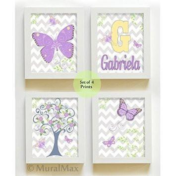 Personalized Butterflies & Tree Decor Nursery Decor- Chevron Unframed Prints - Set of 3-B018KOAPZM-MuralMax Interiors