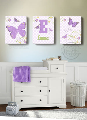 Personalized Butterfly & Floral Nursery Art For Girl - Canvas Decor - Set of 3-B018ISO240Baby ProductMuralMax Interiors