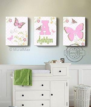 Personalized Butterfly & Floral Nursery Art For Girl - Canvas Decor - Set of 3-B018ISO240-MuralMax Interiors