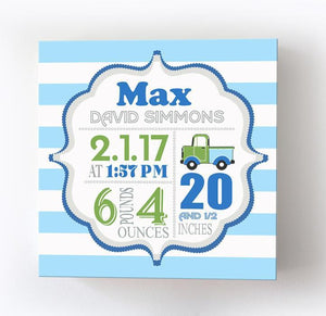 Personalized Canvas Birth Announcement Gift - Custom Baby Boy Name, Date, Weight StatsBaby ProductMuralMax Interiors