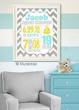 Personalized Chevron Baby Birth Announcement Unframed Print - Custom Nursery Wall Decor - Unframed Print-B018GT0HYA-MuralMax Interiors