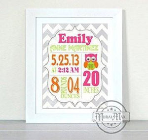 Personalized Chevron Birth Announcement Print - Lovebird Nursery Decor - Unframed Print-B018GT160E-MuralMax Interiors