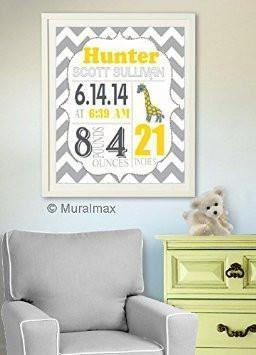 Personalized Chevron Birth Announcement Theme - Giraffe Nursery Decor Collection - Unframed Print-B018GT4WXW-MuralMax Interiors