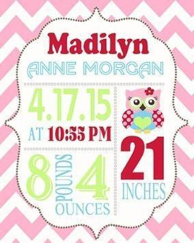 Personalized Chevron Birth Announcement Theme - Owl Nursery Decor Collection - Unframed Print-B018GT6BMC-MuralMax Interiors