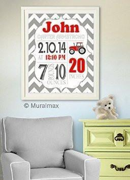 Personalized Chevron Birth Announcement Theme - Tractor Nursery Decor Collection - Unframed Print-B018GT9YXK