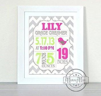 Personalized Chevron Birth Announcement Unframed Print - Custom Lovebird Nursery Wall Decor - Unframed Print-B018GT1A78