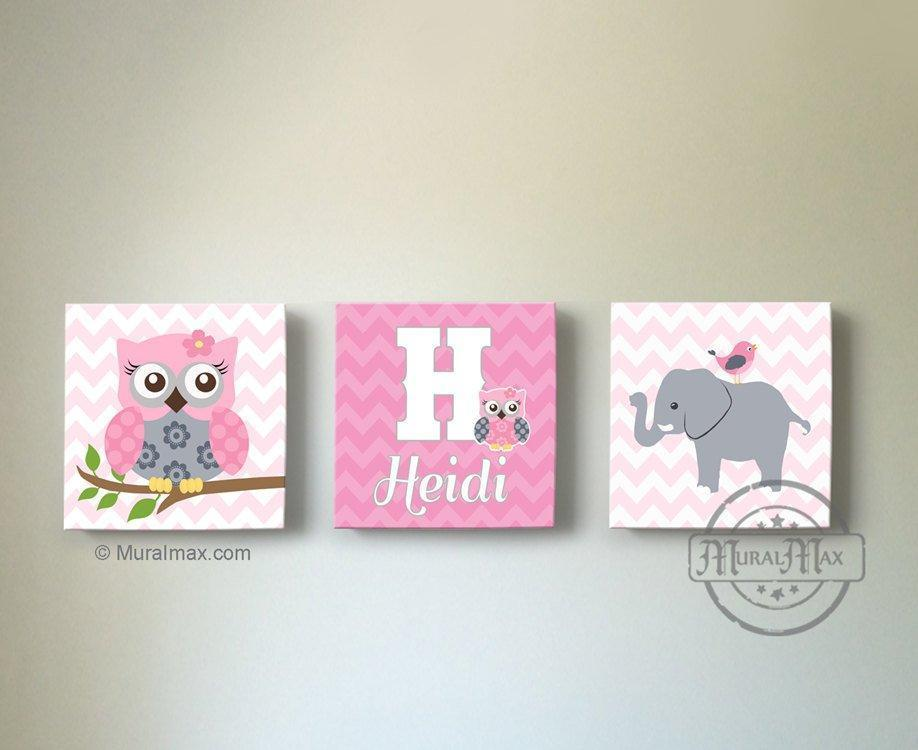 Personalized Chevron Elephant & Owl Safari Canvas Nursery Wall Art - Set of 3-MuralMax Interiors