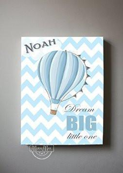 Personalized Chevron Hot Air Balloon Theme - Dream Big Little One Collection - Aviation Canvas Art-B018ISIDJU-MuralMax Interiors