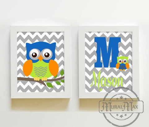 Personalized Chevron Nursery Owl - Unframed Prints - Set of 2-Blue Orange Lime Wall Art-MuralMax Interiors