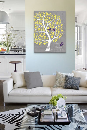 Personalized Couples Gift Family Tree - Stretched Canvas Wall Art - Make Your Wedding & Anniversary Gifts Memorable - Unique Decor - Color - Gray # 3 - B01I0AODJK-MuralMax Interiors