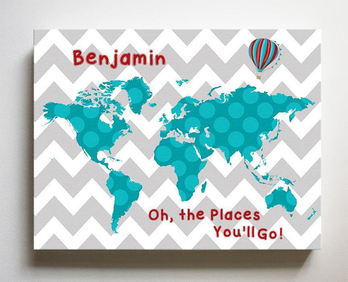 Personalized Dr Seuss Nursery Decor - Chevron Canvas World Map Collection - Oh The Places You'll Go-B018ISFZSM