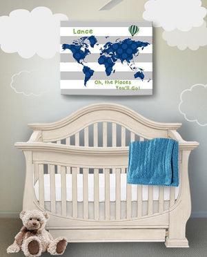 Personalized Dr Seuss Nursery Decor - Striped Canvas World Map Collection - Oh The Places You'll Go-B018ISOO7K-MuralMax Interiors