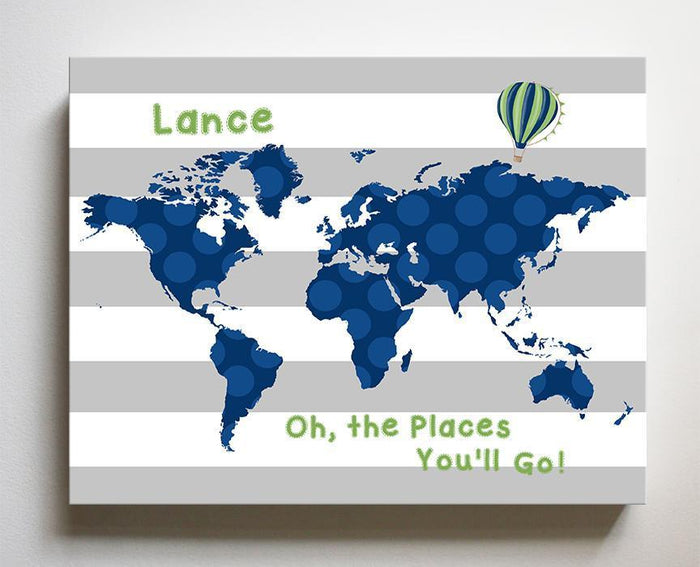 Personalized  Dr Seuss Nursery Decor - Striped Canvas World Map Collection - Oh The Places You'll Go-B018ISOO7K