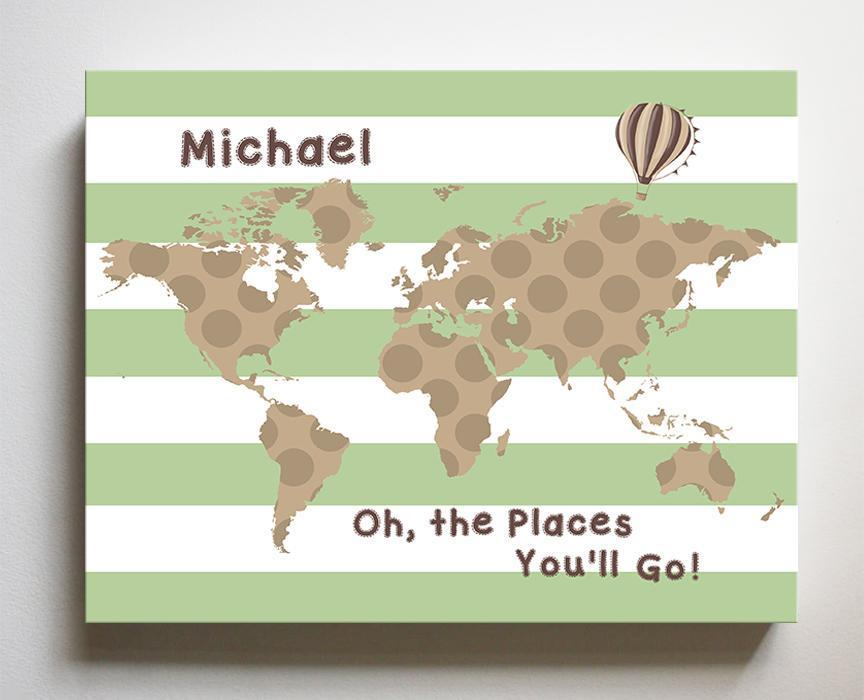 Personalized - Dr Seuss Nursery Decor - Striped Canvas World Map Collection - Oh The Places You'll Go-B018ISOXO4-MuralMax Interiors