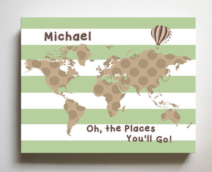 Personalized - Dr Seuss Nursery Decor - Striped Canvas World Map Collection - Oh The Places You'll Go-B018ISOXO4