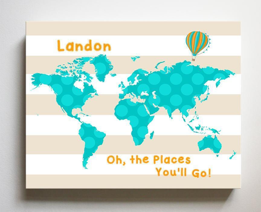 Personalized Dr Seuss Nursery Decor - Striped Canvas World Map Nursery Art- Oh The Places You'll Go-B018ISP2GM-MuralMax Interiors