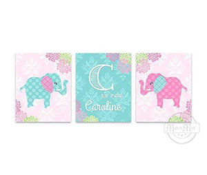 Personalized Elephant Nursery Decor - Floral Mums Elephant & Giraffe Collection - Set of 3 - Unframed Prints-MuralMax Interiors