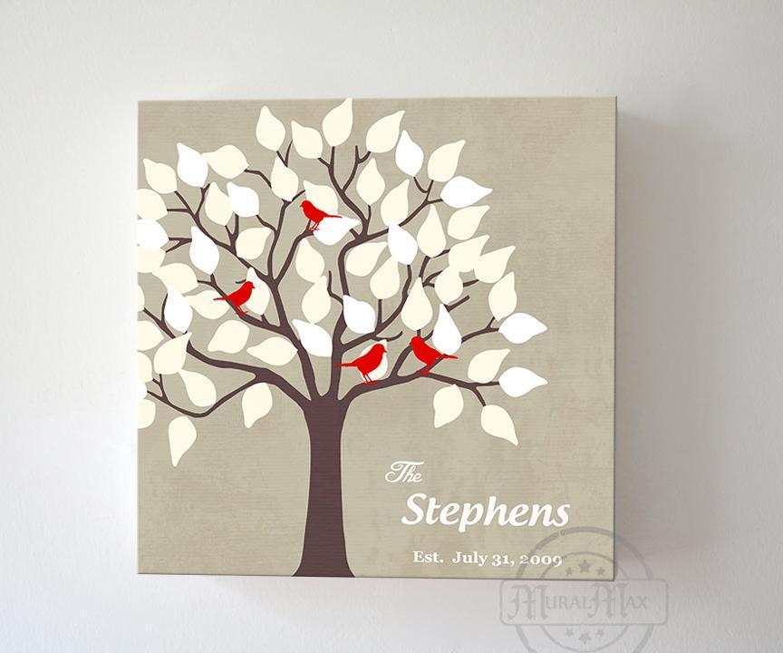 Personalized Family Tree Canvas Wall Art - Wedding & Anniversary Gifts - Housewarming Present - B01IFBS46C-MuralMax Interiors