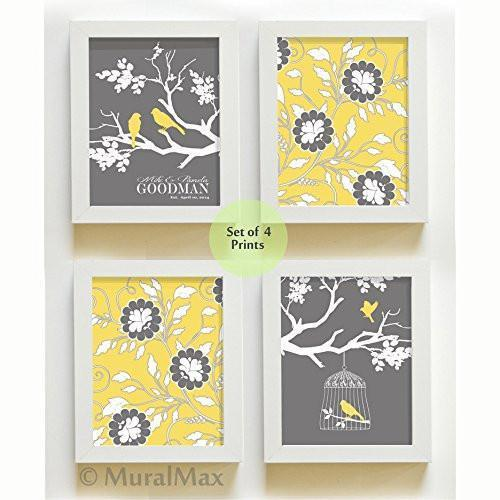 Personalized Family Tree & Floral Love Bird Theme- UNFRAMED Prints - Set of 4 - Yellow - Gray & White-B018KOEP58-MuralMax Interiors