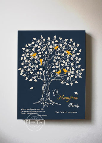 Personalized Family Tree Gifts Stretched Canvas Wall Art - Gift For Mother In Law - Navy-MuralMax Interiors