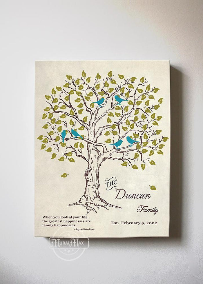 Personalized Family Tree & Lovebirds, Stretched Canvas Wall Art - Make Your Wedding & Anniversary Gifts Memorable - Ivory