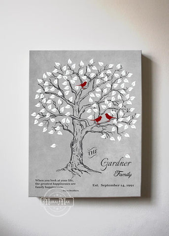 Personalized Family Tree & Lovebirds, Stretched Canvas Wall Art - Make Your Wedding & Anniversary Gifts Memorable - Unique Wall Decor - 30-DAY - Color - Grey # 2 - B01IFGZ56O-MuralMax Interiors