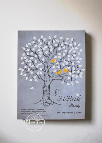 Personalized Family Tree & Lovebirds, Stretched Canvas Wall Art - Make Your Wedding & Anniversary Gifts Memorable - Unique Wall Decor - 30-DAY - Color - Grey - B01IFGZ56O-MuralMax Interiors