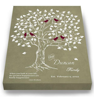Personalized Family Tree & Lovebirds, Stretched Canvas Wall Art - Make Your Wedding & Anniversary Gifts Memorable - Unique Wall Decor - 30-DAY - Color - Khaki # 2 - B01IFGZ56O-MuralMax Interiors