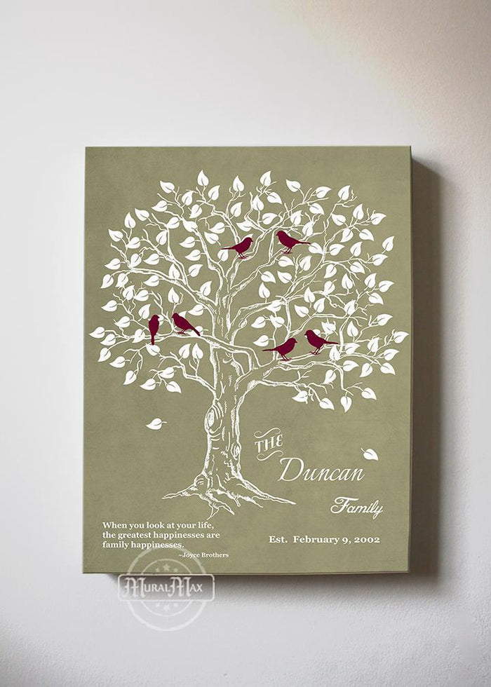 Personalized Family Tree & Lovebirds, Stretched Canvas Wall Art - Make Your Wedding & Anniversary Gifts Memorable - Unique Wall Decor - Khaki # 2