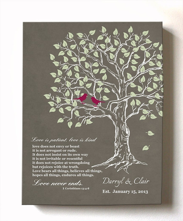 Personalized Family Tree & Lovebirds, Stretched Canvas Wall Art, Make Your Wedding & Anniversary Gifts Memorable, Unique Wall Decor - Khaki