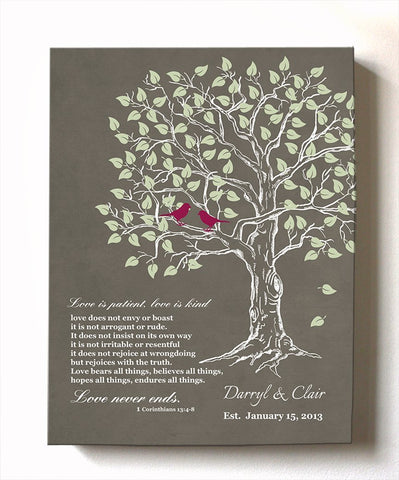 Personalized Family Tree & Lovebirds, Stretched Canvas Wall Art, Make Your Wedding & Anniversary Gifts Memorable, Unique Wall Decor - Khaki # 1 - B01HWLKOLO-MuralMax Interiors