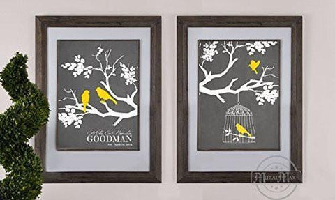 Personalized Family Tree of Life - Wedding & Anniversary Gift Collection - Unframed Print - Set of 2-B018KOGD3A-MuralMax Interiors