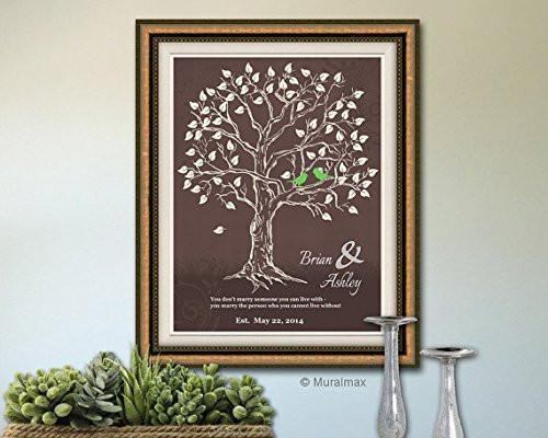 Personalized Family Tree Theme - UNFRAMED PRINT - Brown & White-B018KOEXLY