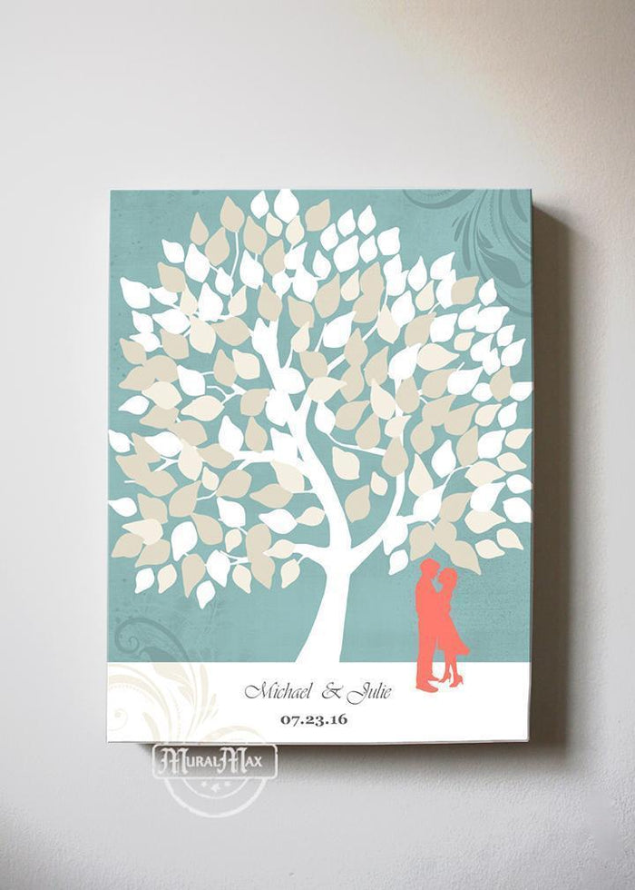 Personalized Family Tree Wedding Guest Book Canvas Art - Coral And Aqua Wedding - Couples Gift
