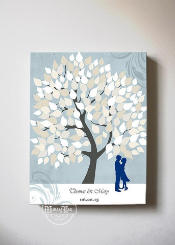 Personalized Family Tree Wedding Guestbook Canvas Wall Art, Make Your Wedding & Anniversary Gifts Memorable, Unique Wall Decor - Blue # 2 - B01LZ45D4T-MuralMax Interiors