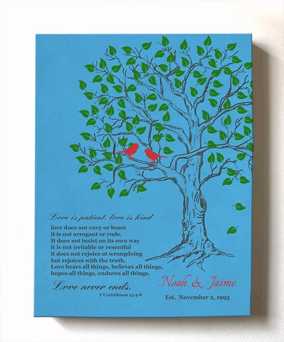 Personalized Family Tree With Bible Verse Canvas Wall Art- Wedding & Anniversary Gifts - Teal-MuralMax Interiors