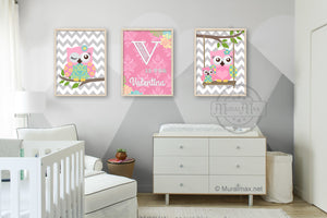 Personalized Floral Baby Nursery - Owl Decor - Pink Aqua Girl Room Decor - Set of 3Baby ProductMuralMax Interiors