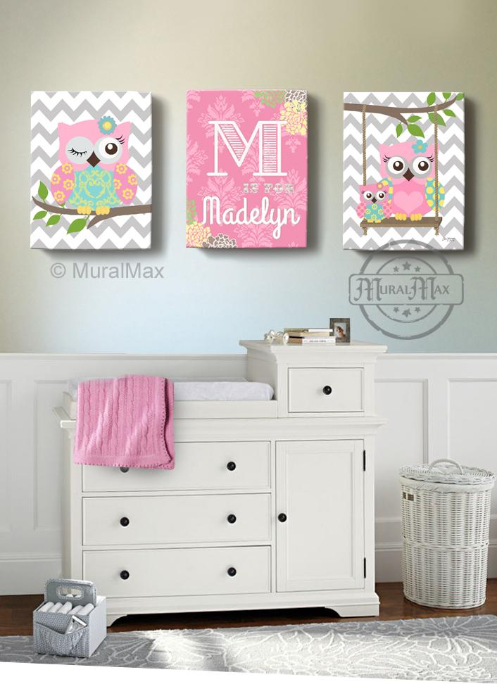 Personalized Floral Baby Nursery - Owl Decor - Pink Aqua Girl Room Decor - Set of 3-MuralMax Interiors