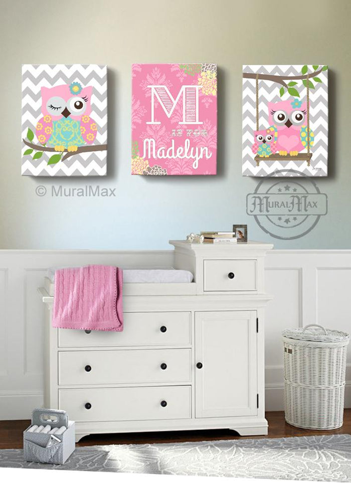 Personalized Floral Baby Nursery - Owl Decor - Pink Aqua Girl Room Decor - Set of 3