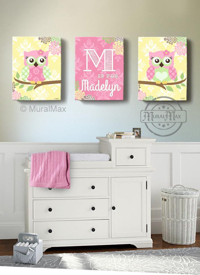 Personalized Floral Owl Nursery Decor - Whimsical Owl Baby Girl Room Decor - Set of 3