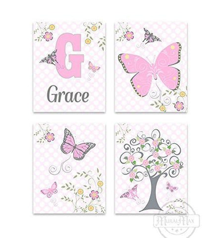 Personalized Flowers & Butterfly Nursery Art For Girls - Set of 4 - Unframed Prints-B01CRT80TO-MuralMax Interiors