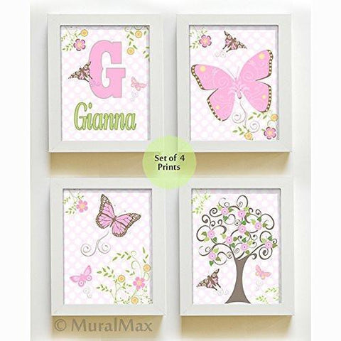 Personalized Flowers & Butterfly Nursery Collection - Set of 4 - Unframed Prints-B01CRT7PIQ-MuralMax Interiors