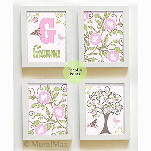 Personalized Flowers & Butterfly Nursery Collection - Set of 4 - Unframed Prints-B01CRT7XOM-MuralMax Interiors