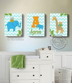 Personalized Kids Room Decor - Blue Orange Elephant & Giraffe Decor - Set of 3 - Canvas Art-MuralMax Interiors