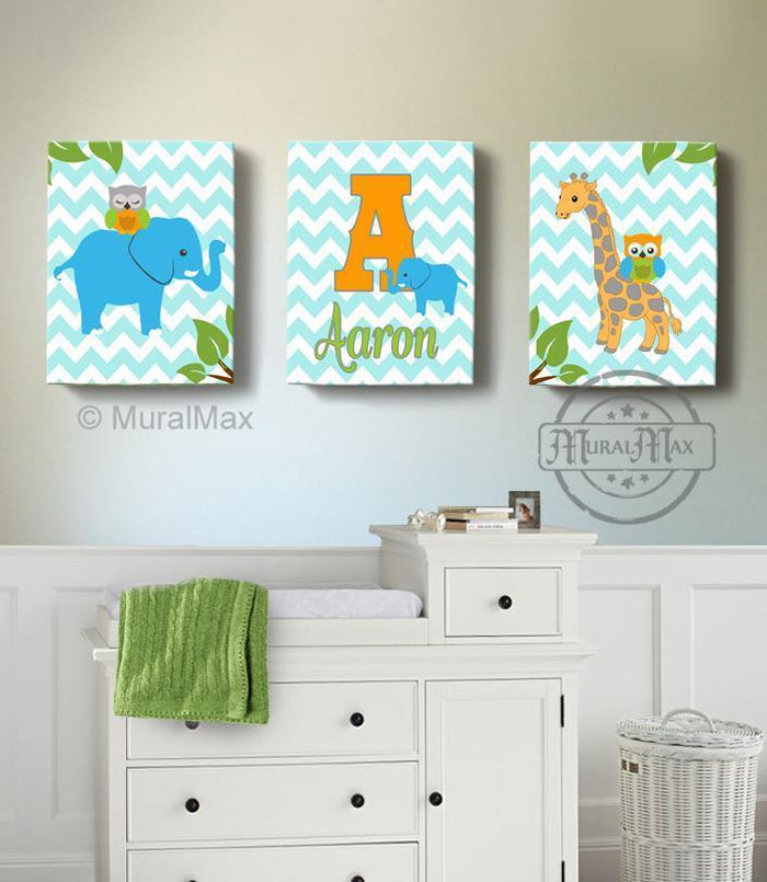 Personalized Kids Room Decor - Blue Orange Elephant & Giraffe Decor - Set of 3 - Canvas Art