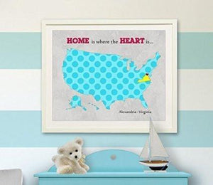 Personalized Kids Wall Art - USA MAP - Home Is Where The Heart Is - Unframed Print-B018KOAMEQ-MuralMax Interiors